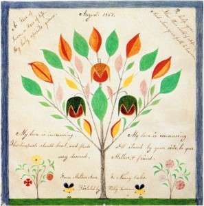 "Shaker gift drawings often contained expressions of love. ""A Tree of Love, a Tree of Life,"" done by Polly Collins in 1857 at Hancock, was a message from Mother Ann to Nancy Oaks."