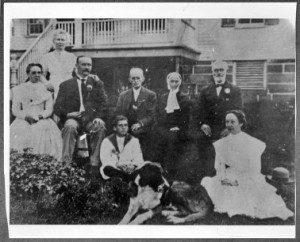 North Family Shakers with Rover, early 20th century